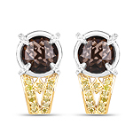"""3.75 Carat Genuine Smoky Quartz, Yellow Diamond and White Diamond .925 Sterling Silver Earrings"""