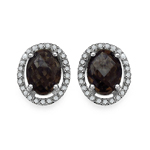 2.39 Carat Genuine White Diamond & Smoky Quartz .925 Streling Silver Earrings