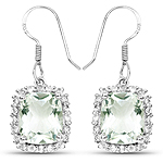 10.48 Carat Genuine Green Amethyst and White Topaz .925 Sterling Silver Earrings