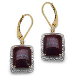 14K Yellow Gold Plated 14.00 Carat Genuine Dyed Ruby Sterling Silver Earrings