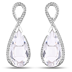 10.45 Carat Genuine Crystal Quartz and White Diamond .925 Sterling Silver Earrings
