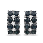 1.95 Carat Genuine Blue Sapphire and White Diamond .925 Sterling Silver Earrings