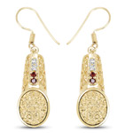 14K Yellow Gold Plated 7.69 Carat Genuine Golden Drusy, Garnet and White Topaz .925 Sterling Silver Earrings