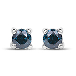 0.21 Carat Genuine Blue Diamond .925 Sterling Silver Earrings