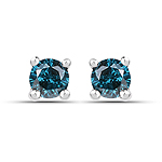 0.25 Carat Genuine Blue Diamond .925 Sterling Silver Earrings