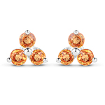 0.54 Carat Genuine Orange Sapphire .925 Sterling Silver Earrings