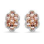 18K Rose Gold Plated 3.78 Carat Genuine Morganite .925 Sterling Silver Earrings