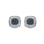 0.29 Carat Genuine Blue Diamond & White Diamond .925 Streling Silver Earrings