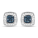 0.27 Carat Genuine Blue Diamond & White Diamond .925 Sterling Silver Earrings