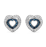0.49 Carat Genuine Blue Diamond & White Diamond .925 Streling Silver Earrings