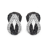 1.05 Carat Genuine Black Diamond & White Diamond .925 Streling Silver Earrings