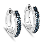 0.68 Carat Genuine Blue Diamond and White Diamond .925 Sterling Silver Earrings