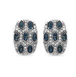 0.51 Carat Genuine Blue Diamond & White Diamond .925 Streling Silver Earrings