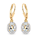 14K Yellow Gold Plated 1.70 Carat Genuine Aquamarine and White Topaz .925 Sterling Silver Earrings