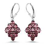 5.36 Carat Genuine Rhodolite .925 Sterling Silver Earrings