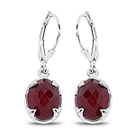 6.90 Carat Dyed Ruby .925 Sterling Silver Earrings