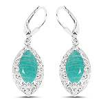 5.09 Carat Genuine Amazonite .925 Sterling Silver Earrings