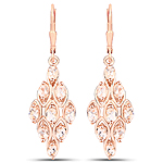 18K Rose Gold Plated 2.70 Carat Genuine Morganite .925 Sterling Silver Earrings