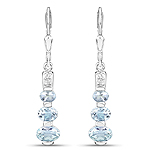 1.74 Carat Genuine Aquamarine and White Topaz .925 Sterling Silver Earrings
