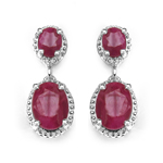 3.86 Carat Genuine Ruby .925 Sterling Silver Earrings