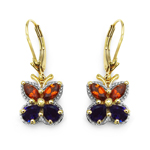 14K Yellow Gold Plated 2.16 Carat Genuine Citrine & Amethyst .925 Sterling Silver Earrings