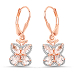 18K Rose Gold Plated 1.88 Carat Genuine Morganite .925 Sterling Silver Earrings