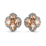 14K Rose Gold Plated 2.04 Carat Genuine Morganite & White Topaz .925 Sterling Silver Earrings