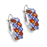 4.70 Carat Genuine Citrine & Tanzanite .925 Sterling Silver Earrings