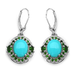 6.36 Carat Genuine Turquoise & Chrome Diopside .925 Sterling Silver Earrings