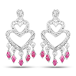 0.98 Carat Genuine Ruby and White Diamond .925 Sterling Silver Earrings