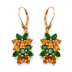14K Yellow Gold Plated 4.56 Carat Genuine Chrome Diopside & Citrine .925 Sterling Silver Earrings