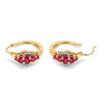 14K Yellow Gold Plated 1.88 Carat Genuine Glass Filled Ruby & White Topaz .925 Sterling Silver Earrings