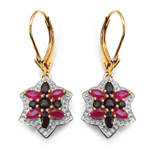 14K Yellow Gold Plated 1.70 Carat Genuine Ruby & Smoky Topaz .925 Sterling Silver Earrings