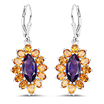 6.54 Carat Genuine Amethyst and Citrine .925 Sterling Silver Earrings