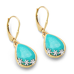 14K Yellow Gold Plated 8.90 Carat Genuine Turquoise .925 Sterling Silver Earrings