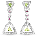 """1.28 Carat Genuine Peridot, Ruby & White Cubic Zirconia .925 Sterling Silver Earrings"""