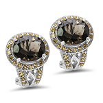 10.36 Carat Genuine Smoky Topaz & Citrine .925 Sterling Silver Earrings