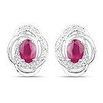 1.90 Carat Genuine Ruby .925 Sterling Silver Earrings