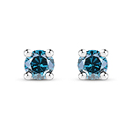 0.15 Carat Genuine Blue Diamond .925 Sterling Silver Earrings
