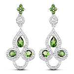 2.28 Carat Genuine Chrome Diopside and White Topaz .925 Sterling Silver Earrings