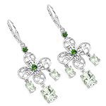 5.58 Carat Genuine Green Amethyst and Chrome Diopside .925 Sterling Silver Earrings