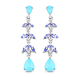 """4.72 Carat Genuine Turquoise, Tanzanite & White Topaz .925 Sterling Silver Earrings"""