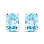 2.90 Carat Genuine Blue Zircon .925 Sterling Silver Earrings