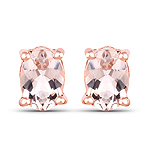14K Rose Gold Plated 1.40 Carat Genuine Morganite .925 Sterling Silver Earrings