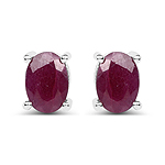 2.00 Carat Genuine Ruby .925 Sterling Silver Earrings