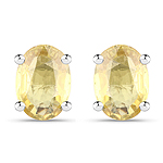 2.00 Carat Genuine Yellow Sapphire .925 Sterling Silver Earrings