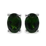 0.94 Carat Genuine Chrome Diopside .925 Sterling Silver Earrings