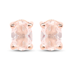 18K Rose Gold Plated 0.80 Carat Genuine Morganite .925 Sterling Silver Earrings