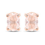 18K Rose Gold Plated 0.43 Carat Genuine Morganite .925 Sterling Silver Earrings