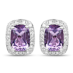 2.86 Carat Genuine Amethyst and White Topaz .925 Sterling Silver Earrings